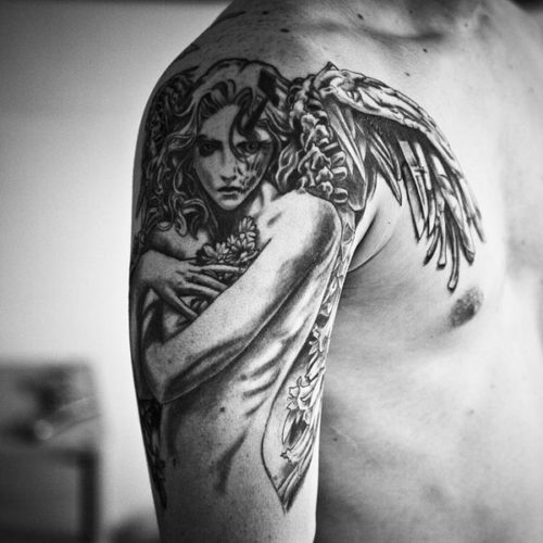 Unique Angel Shoulder Tattoo