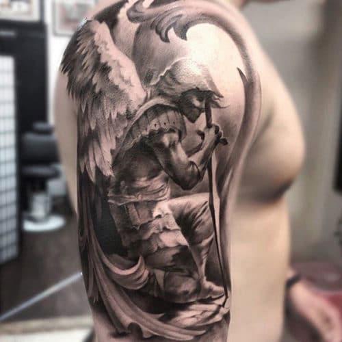 Awesome Saint Michael Fantasy Sleeve Tattoo