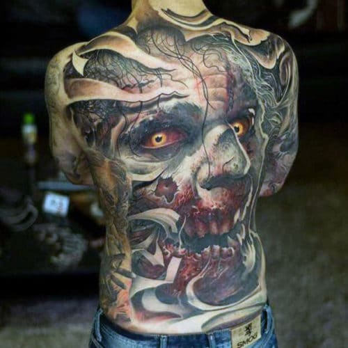 Back Tattoo Ideas For Guys - Zombie