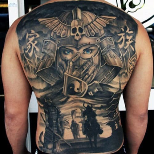 Awesome Warrior Back Tattoos For Men