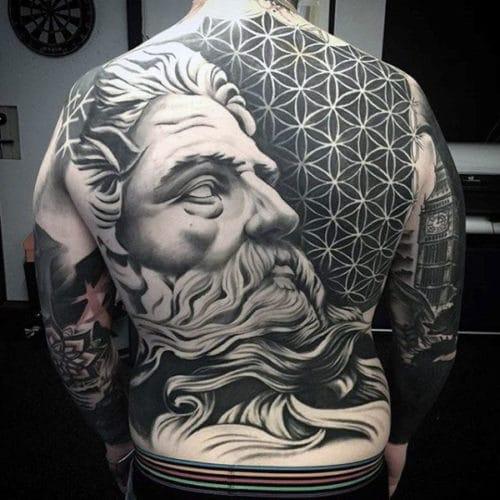 Back Tattoos For Guys - Zeus God