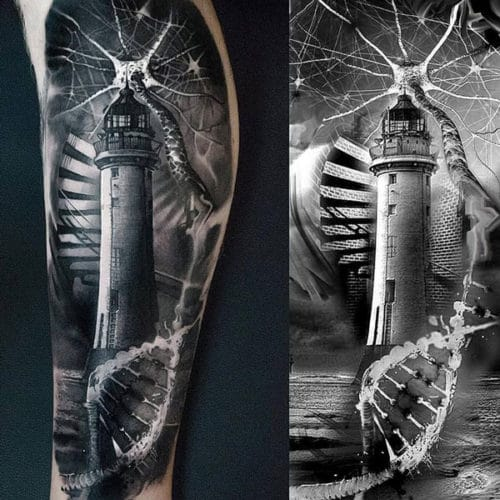 Beautiful Lighthouse Arm Tattoo