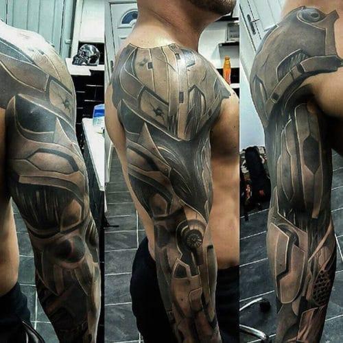 Cool Cyborg Sleeve Tattoo