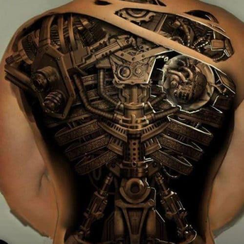 Cool 3D Full Back Tattoo Design