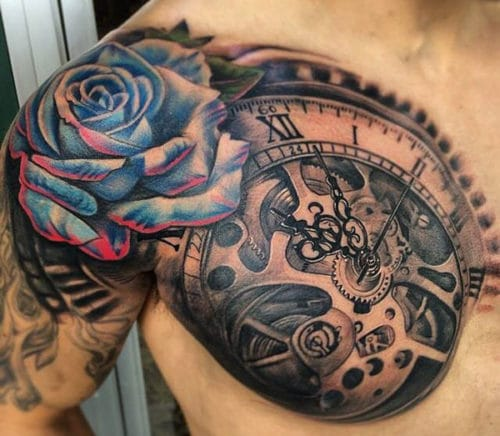 Cool Compass Shoulder Tattoo Designs For Men