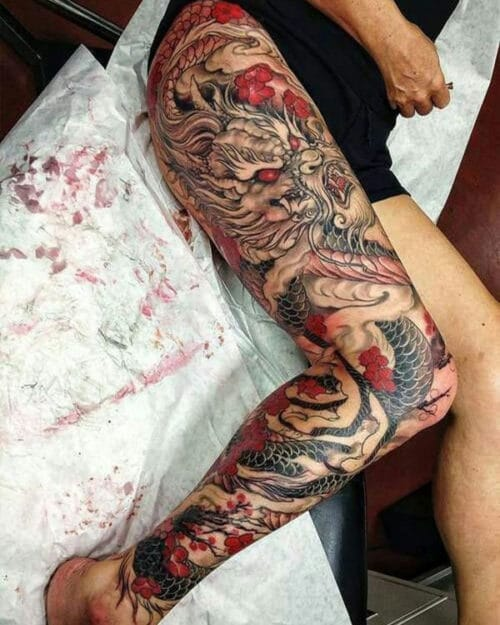 Badass Dragon Leg Tattoo