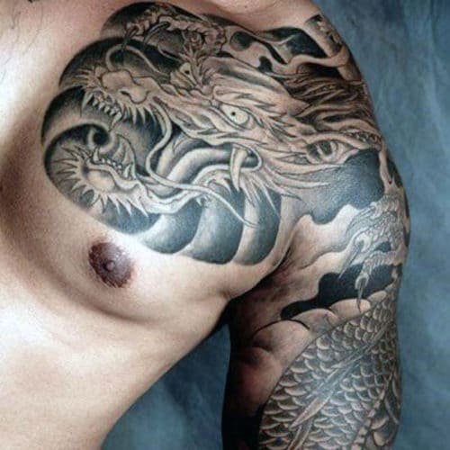 Dragon Chest Tattoo For Guys