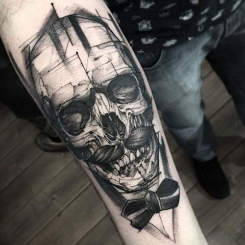 Forearm Skull Tattoo Design