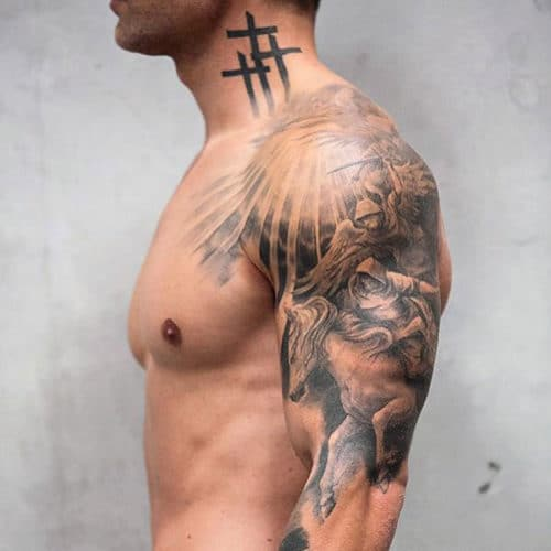 Cross Tattoo on Neck For Guys