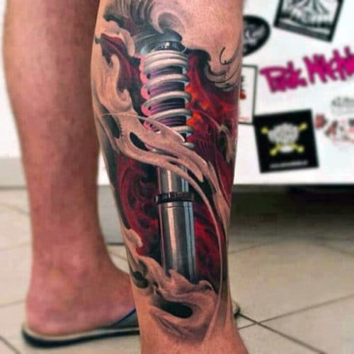 Biomechanical Leg Tattoos