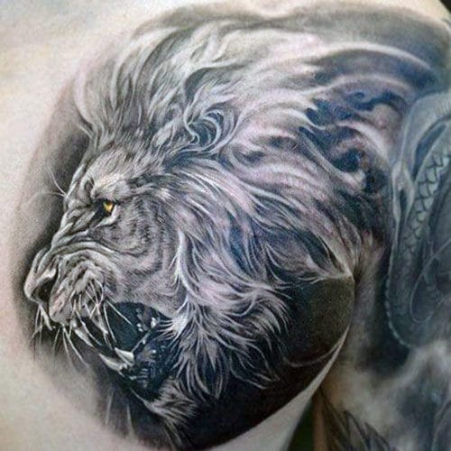 Lion Chest Tattoo