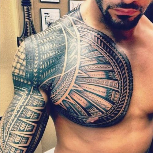Men's Chest Armor Tattoo