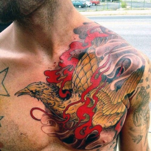 Phoenix Chest Tattoo For Males