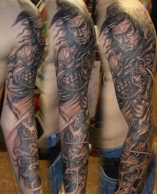 Samurai Warrior Sleeve Tattoos For Men