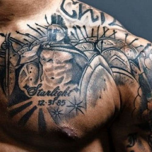 Warrior Chest Tattoo For Guys