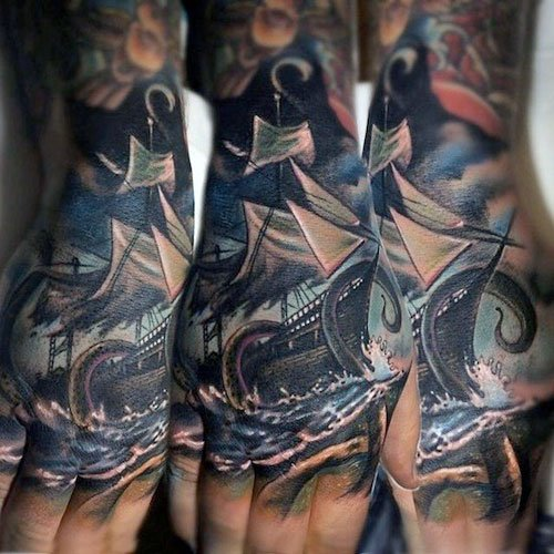 Badass Hand Tattoos For Guys - Ship