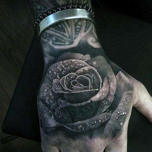 Black and White Hand Tattoo - Rose