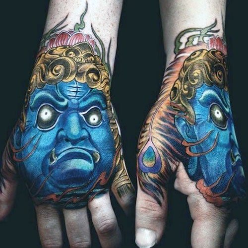 Cool Hand Tattoo Ideas - Blue