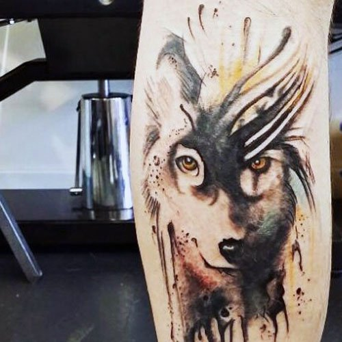 Cool Wolf Tattoo on Leg