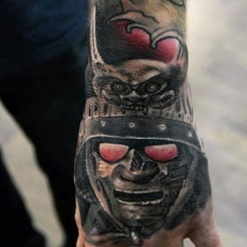 Hand Tattoos - Samurai Warrior
