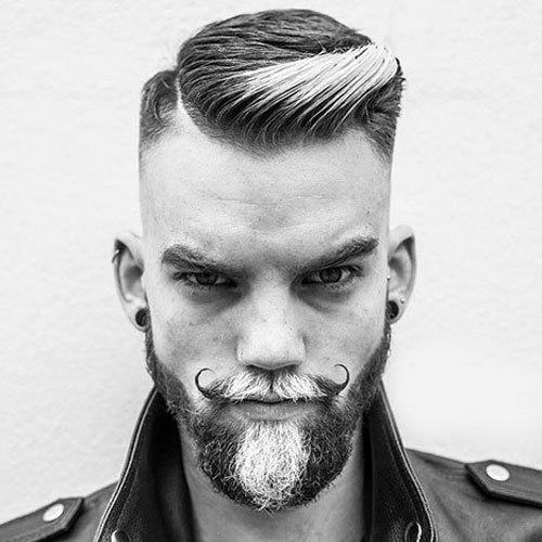 Curled Mustache with Dyed Beard and Side Part