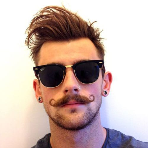 Handlebar Mustache with Messy Hair