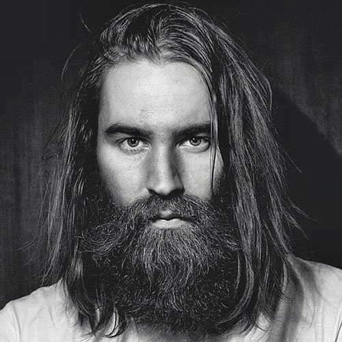 Long, Thick Beard with Flowing Hair
