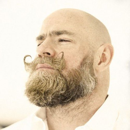 Hipster Beard with Handlebar Mustache for Bald Men