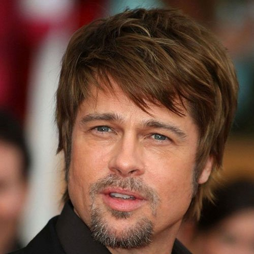 Brad Pitt Beard with Messy Hair