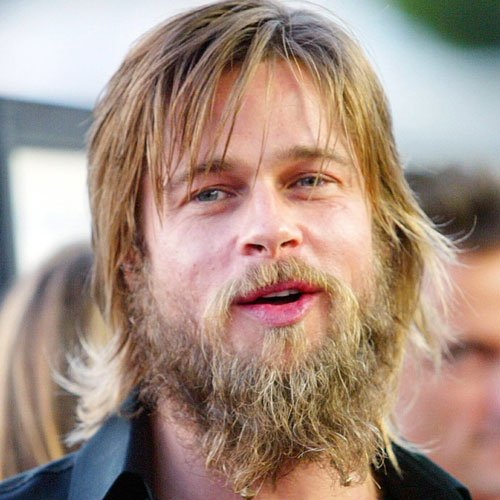 Brad Pitt - Long Messy Beard with Medium-Length Hair
