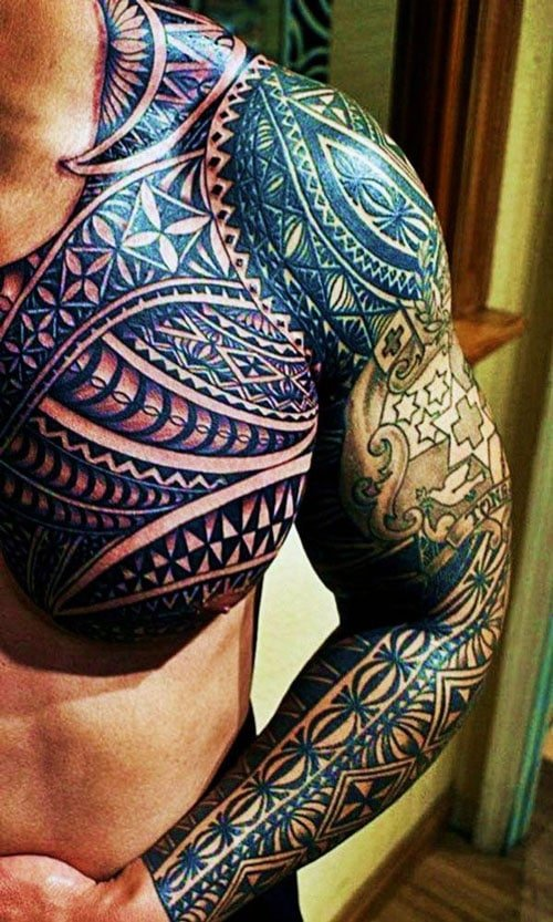 Badass Full Sleeve and Chest Tribal Tattoo For Men