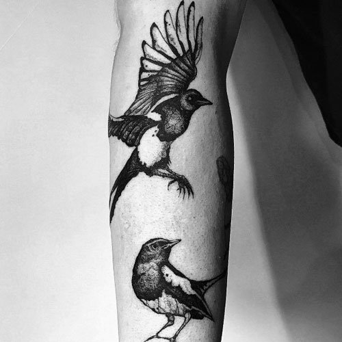 Cool Magpie Tattoo for Guys