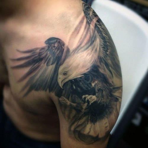 Hawk Tattoo on Shoulder and Back
