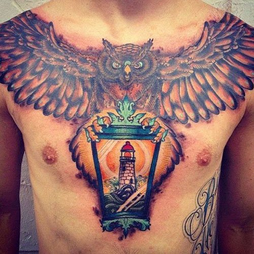 Lower Chest Tattoo For Men