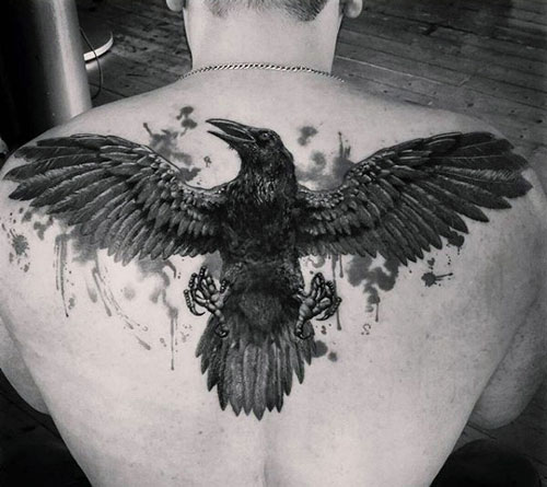Raven Tattoo For Men with Extended Wings
