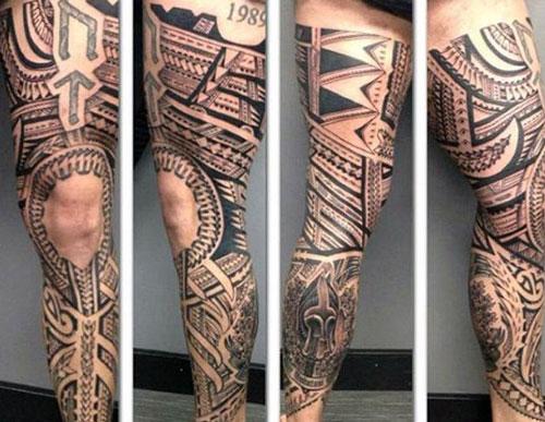 Unique Tribal Thigh Tattoo