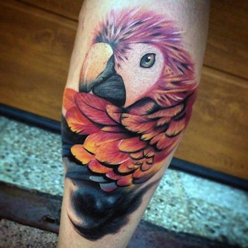Vivid Bird Tattoo on Leg