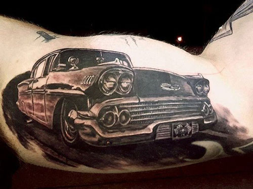 3D Car Tattoo on Bicep