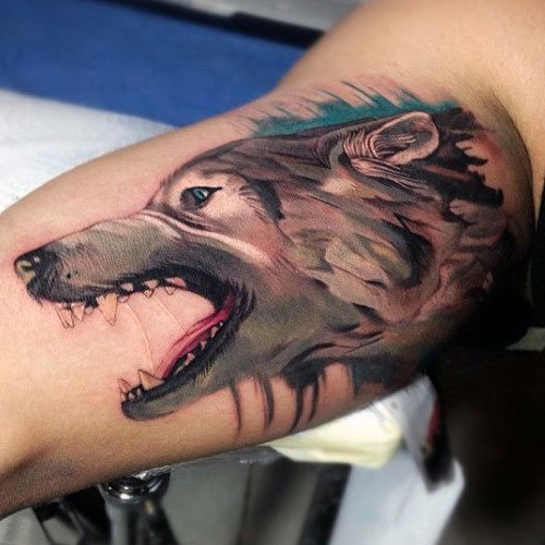 3D Watercolor Wolf Bicep Tattoo