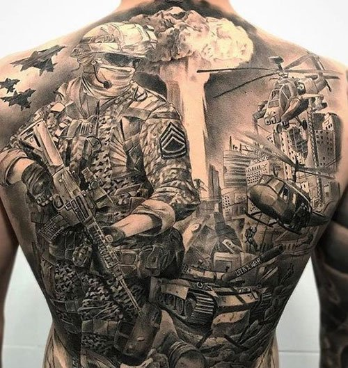 Badass Military Back Tattoo
