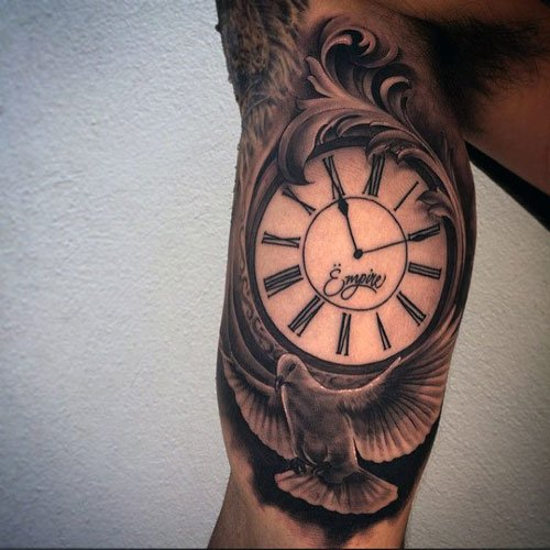 Clock Bicep Tattoo