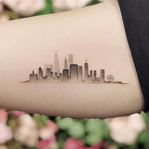 Small Skyline Tattoo For Guys