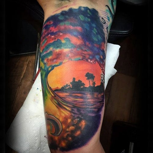 Watercolor Wave Inner Arm Tattoos