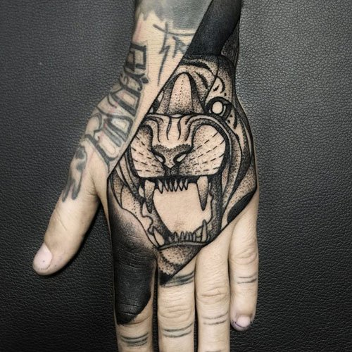 Black Grey Hand Tattoos