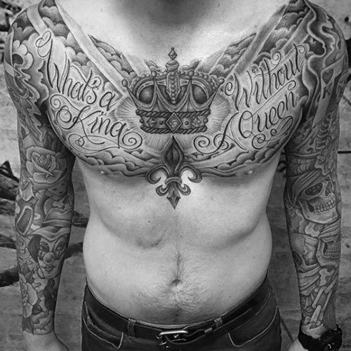 King and Queen Crown Chest Tattoo