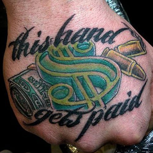 Money Hand Tattoo