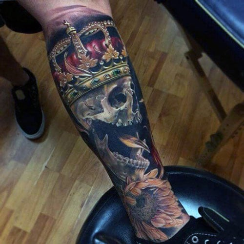 Skull With Crown Forearm Tattoo