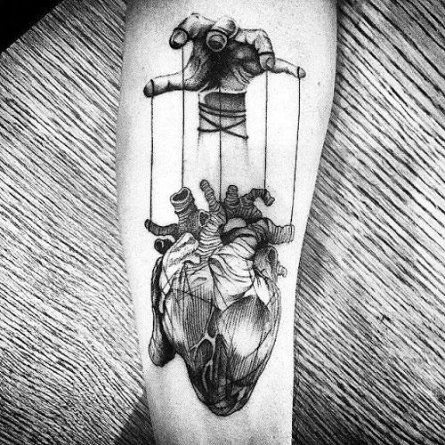 3D Heart Tattoo For Men