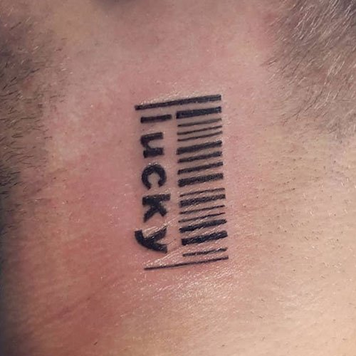 Barcode Neck Tattoo For Guys