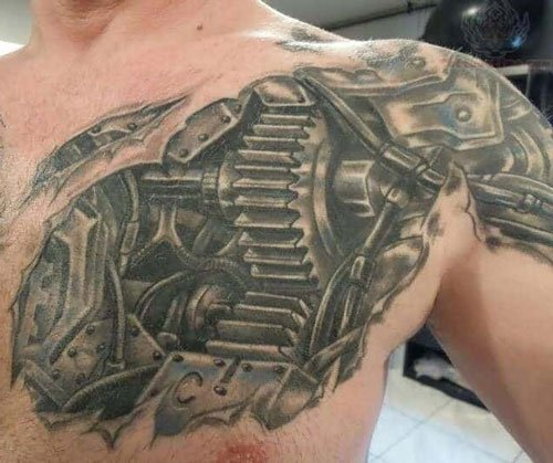 Biomechanical Chest Tattoo For Men
